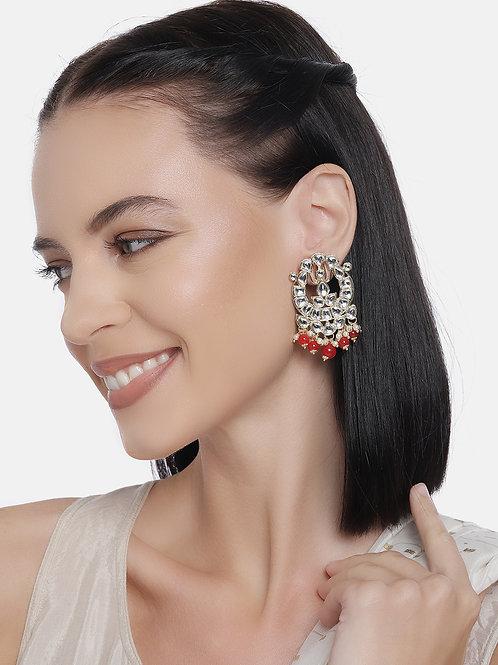 Gold-Plated & White Kundan Studded Circular Drop Earrings