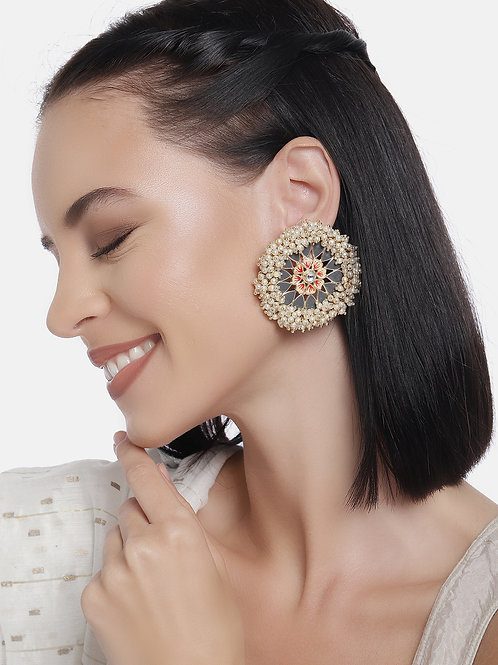 Gold-Plated & Grey Enamelled Pearl Studded Circular Studs