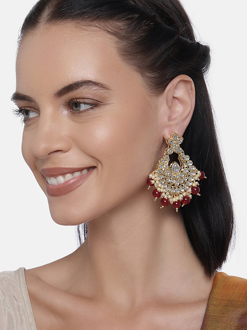 Maroon & White Gold Plated Contemporary Drop Earrings