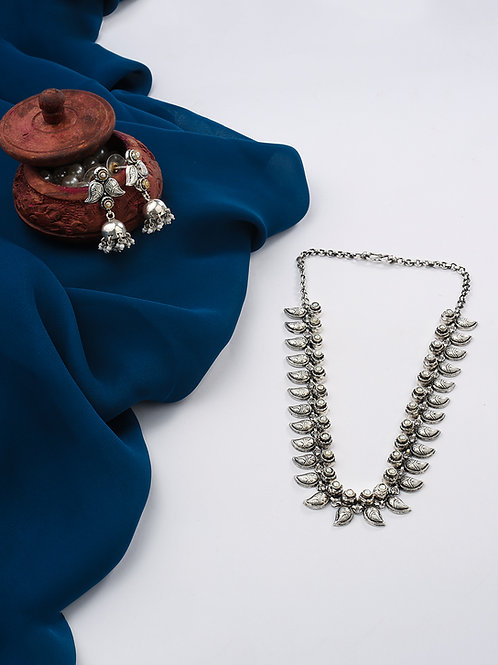 92.5 Sterling Silver Handcrafted Necklace and Earring (Set of 2)
