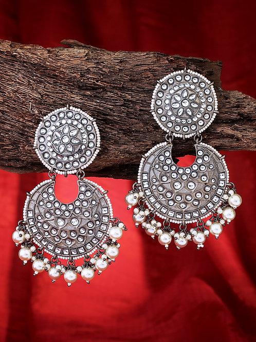 Silver-Toned Rhodium Plated Kundan Studded Circular Chandbalis