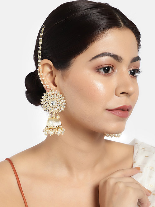 Gold-Plated Handcrafted Kundan Studded Jhumka with Detachable Ear Chain