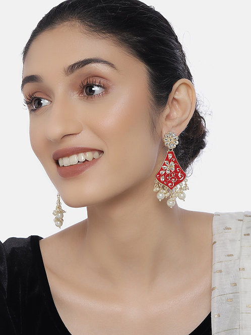 Gold-Plated & Red Classic Drop Earrings