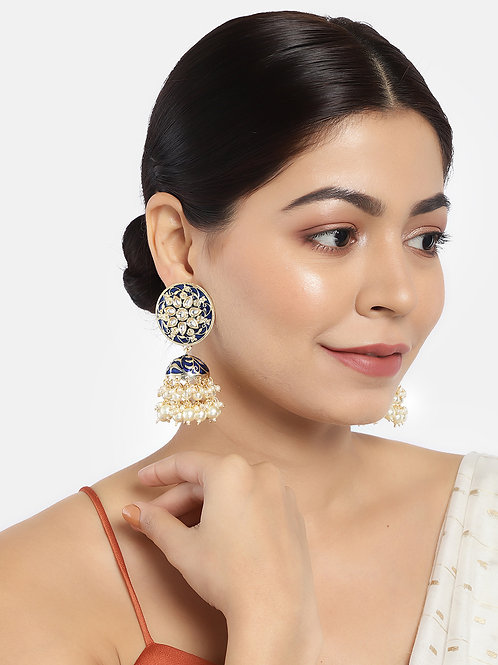 Navy Blue & Gold-Plated Stone Studded Handcrafted Dome Shaped Jhumkas