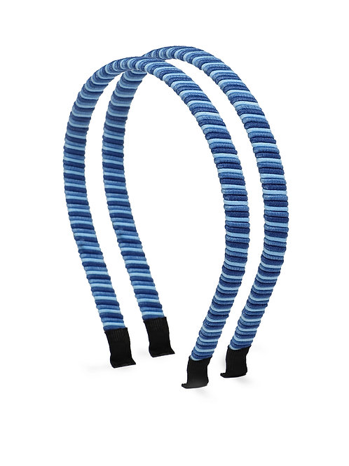 Girls Set of 2 Blue Striped Hairbands