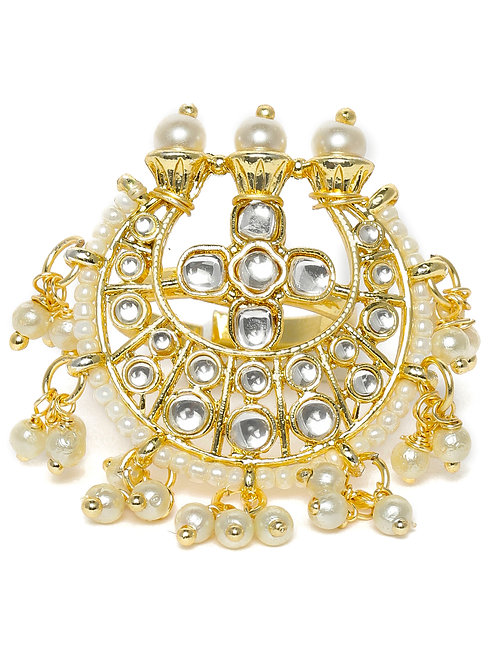 White & Gold-Toned Rhodium Plated Kundan Studded Adjustable Ring