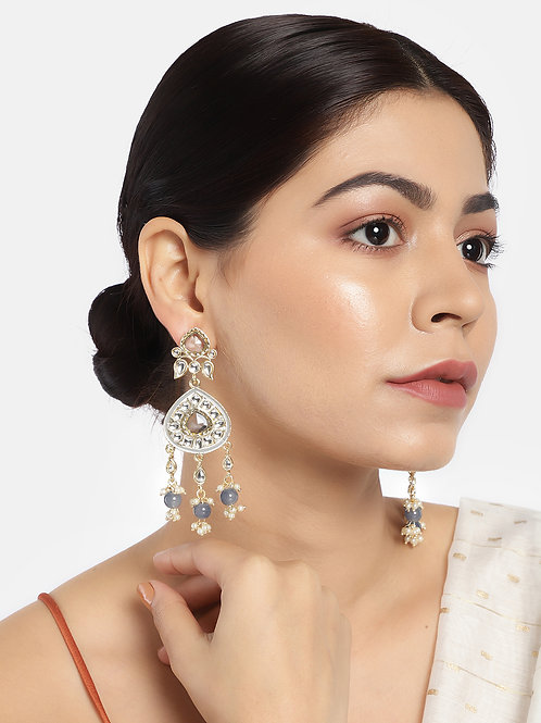 Women Gold-Plated & Grey Classic Drop Earrings