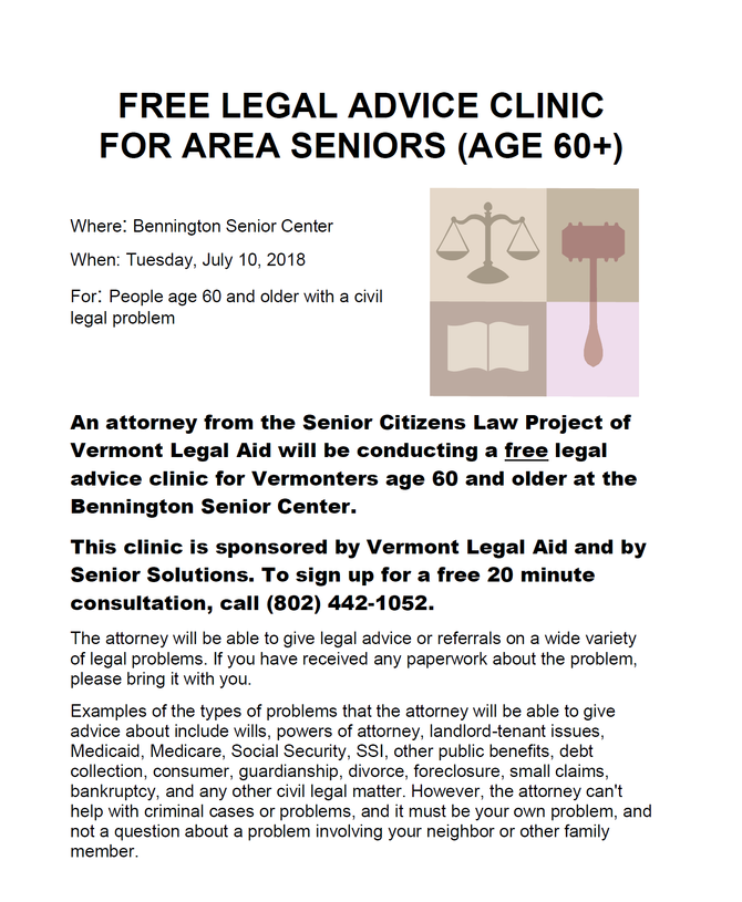 Free Legal Advice Clinic for Seniors on July 10 in Bennington
