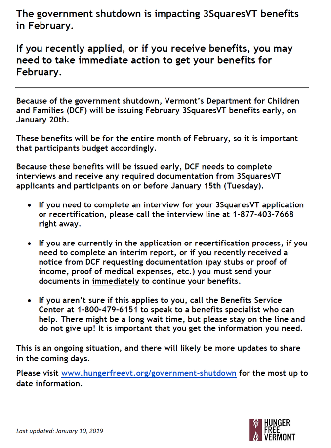 Important Notice from Vermont DCF: 3SquaresVT benefits for February impacted by government shutdown