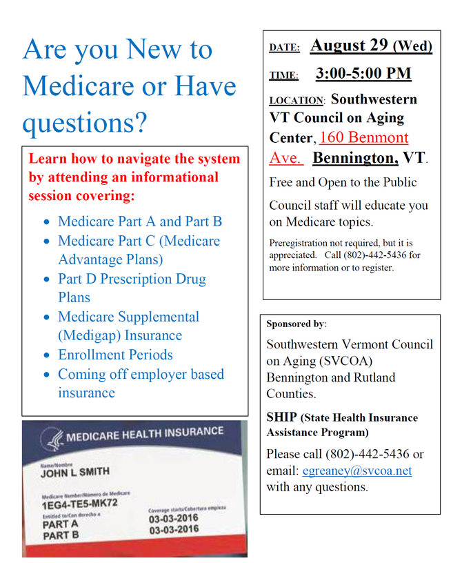 SVCOA to host Medicare class in Bennington on August 29