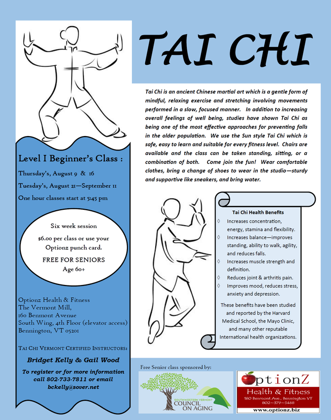Level 1 Tai Chi offered though mid-September in Bennington