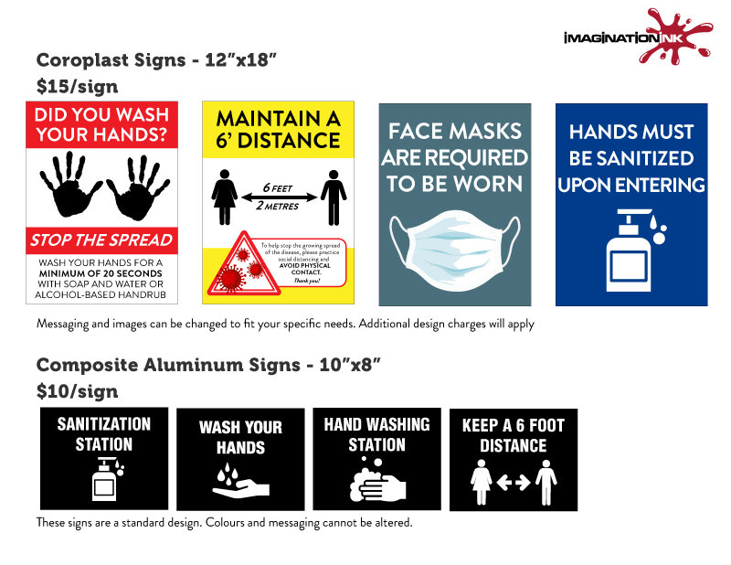 COVID-19,Hand Wash Sign, Face Mask Sign, Sanitizing Signage, Keep Your Distance Signs