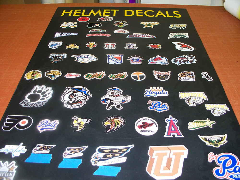 Vinyl helmet decals.
