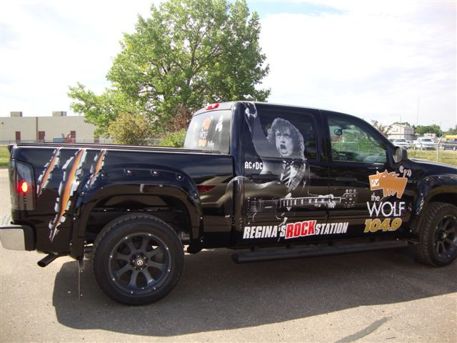 Harvard Broadcasting - vinyl truck wrap - 104.9 The Wolf.