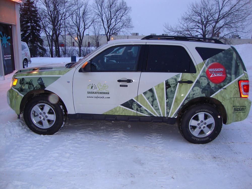 Safe Sask - vinyl SUV wrap.