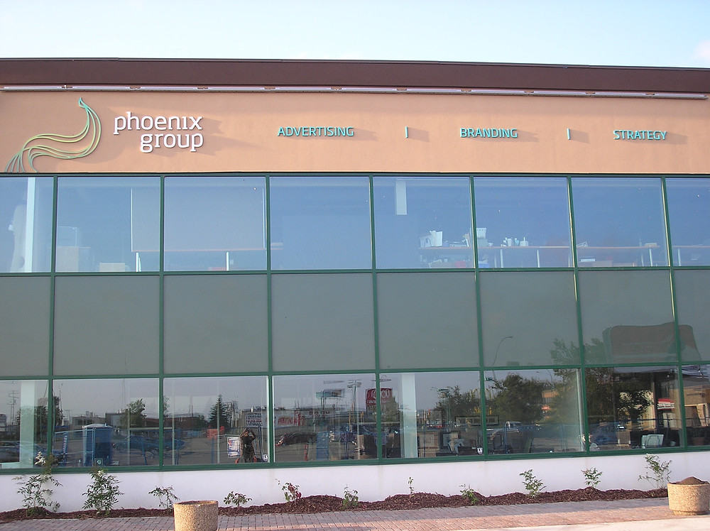 Phoenix Group - outdoor building sign, 3D letters.