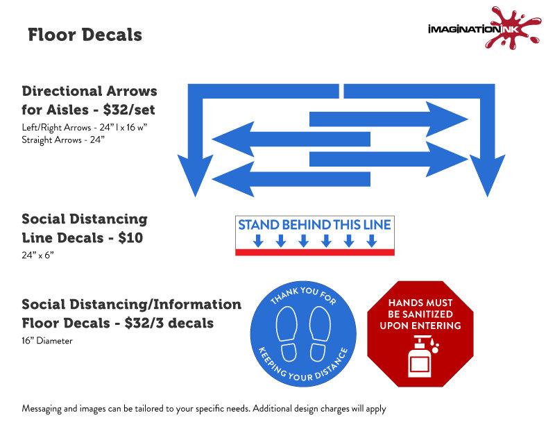 COVID-19 Floor Decals, Floor Graphics, Keep Your Distance Decals, Sanitizing Decals, Stand Behind This Line Decals
