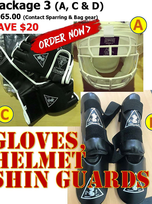 Package 3 - contact sparring & bag training gear