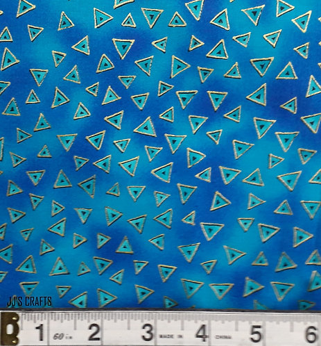 Laurel Burch -Blue/Gold triangles