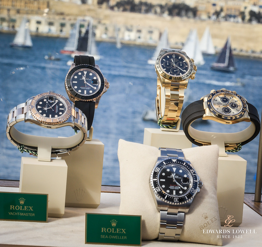 Rolex watches on display at the Rolex Middle Sea Race 2017. Image copyright: Edwards Lowell