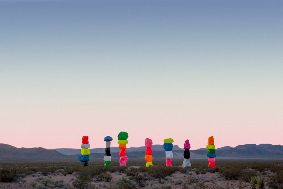 Ugo Rondinone:Seven Magic Mountains, Las Vegas, Nevada, 2016. Photo by Gianfranco Gorgoni. Courtesy of Art Production Fund and Nevada Museum of Art.