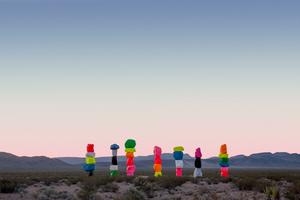 Ugo Rondinone:Seven Magic Mountains, Las Vegas, Nevada, 2016. Photo by Gianfranco Gorgoni. Courtesy of Art Production Fund and Nevada Museum of Art.
