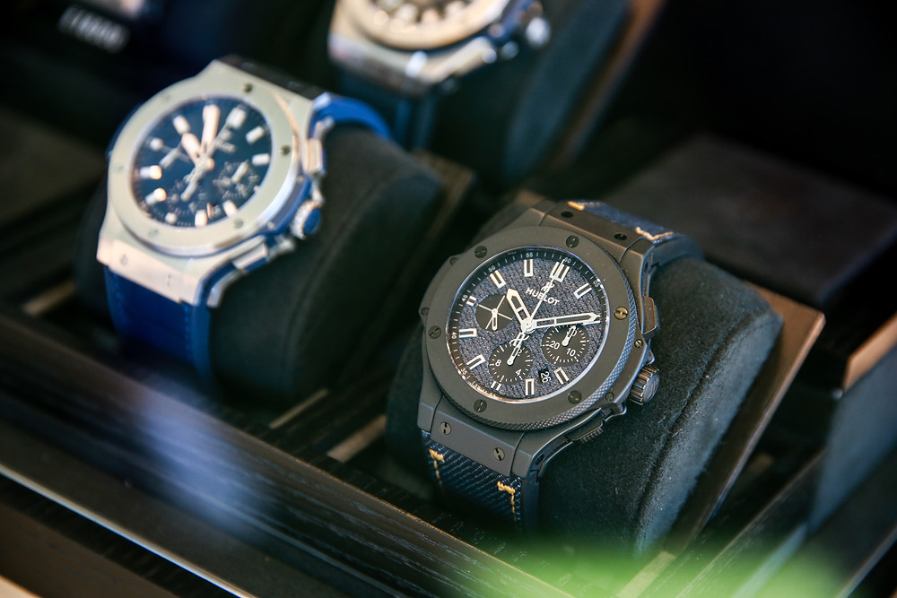 Timepieces on display. The Cawnpore Cup, Malta Polo Club. Hublot. Edwards Lowell