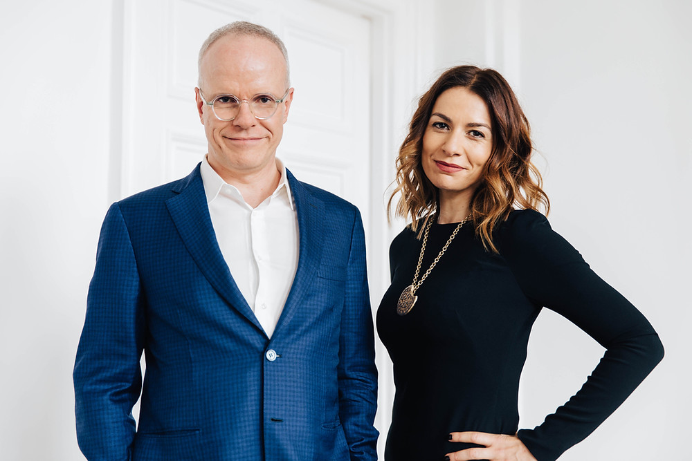 Hans Ulrich Obrist and Yana Peel. Guest speakers at 'Conversation on the Rock'