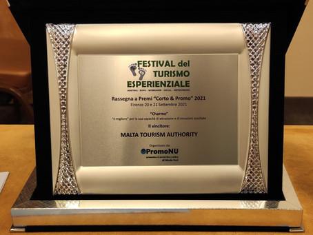 MTA receives the 'Charme' Award at the Festival del Turismo Esperienzale in Florence