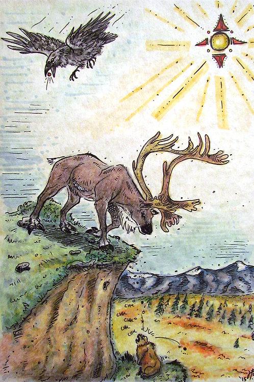Caribou Sun Print