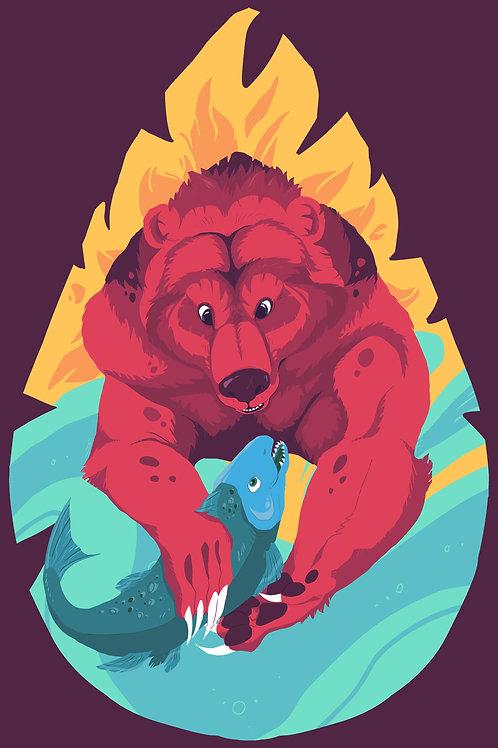 Midnight Sun Bear Print