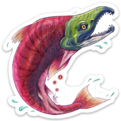 Salmon Vinyl Sticker