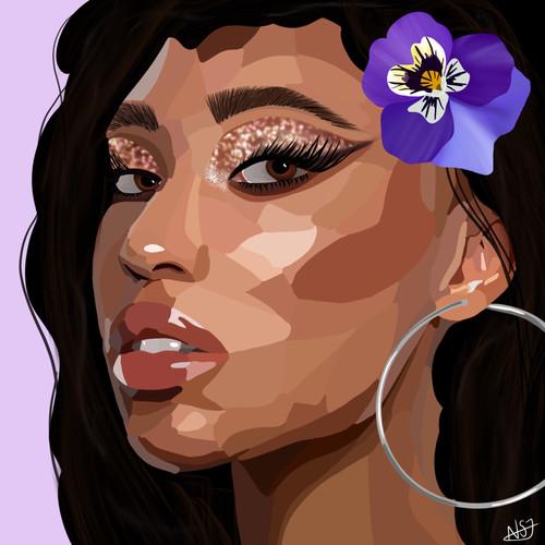 She wore purple