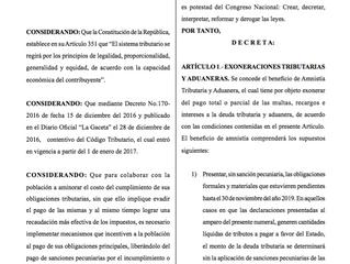 Publicación Paquete de Amnistías