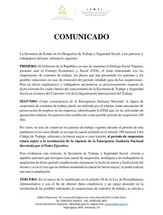 Comunicado Secretaría de Trabajo y Seguridad Social como invocar la suspensión de los contratos de t