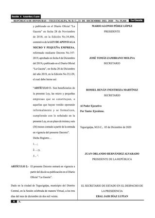 Reforma a la Ley de Apoyo a la Micro y Pequeña Empresa