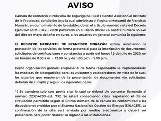 Reinicio prestación de servicios presenciales Registro Mercantil de FM
