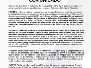 Opinión y posición pública sobre aprobación de la Ley de Extensión Calendario Tributario