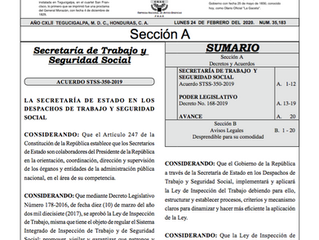 Aviso Reglamento de la Ley de Inspección de Trabajo
