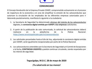 Eliminación de constancia digital emitida por COHEP como requisito para salvoconducto