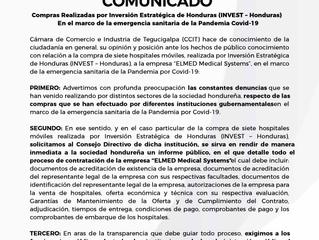 Compras Realizadas por Inversión Estratégica de Honduras (INVEST -Honduras) En el marco de la emerge