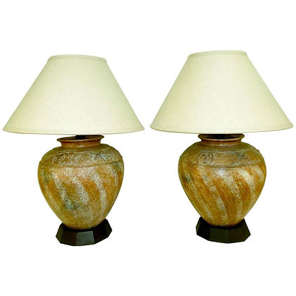 Pair of 1980s Ceramic Lamps Designed by Steve Chase