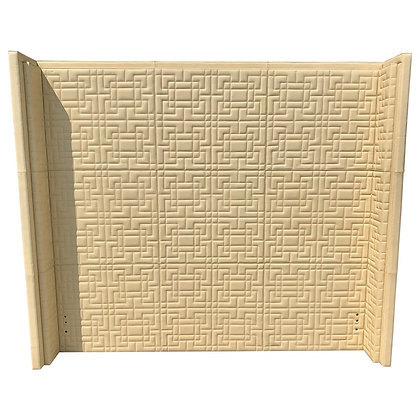 Creme Color Quilted Leather King Headboard with Modernist Hicks Pattern