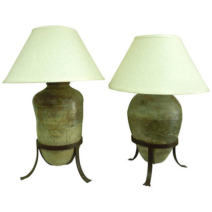 Large Pair of Antique Vessel Lamps for Steve Chase from 1980s