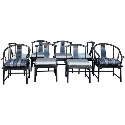 Modern Chinoiserie Set for 8 Dining Chairs by Marge Carson in Tortoise Lacquer