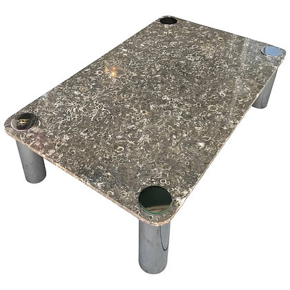 Vintage Modern Marble and Chrome Coffee Table by Pace Collection
