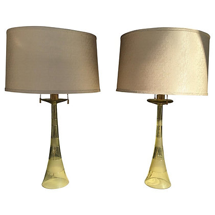 Pair of Italian Citron Glass Lamps by John Hutton for Donghia