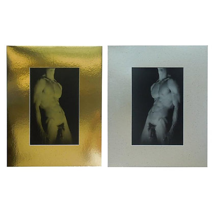Pair of Modern 20th Century Gold & Silver Male Nude Original Photographs