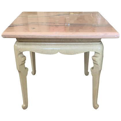 Custom Marge Carson Hollywood Regency End Table with Rare Pink Marble Top