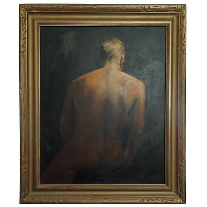 Mid Century Original Painting Of A Man